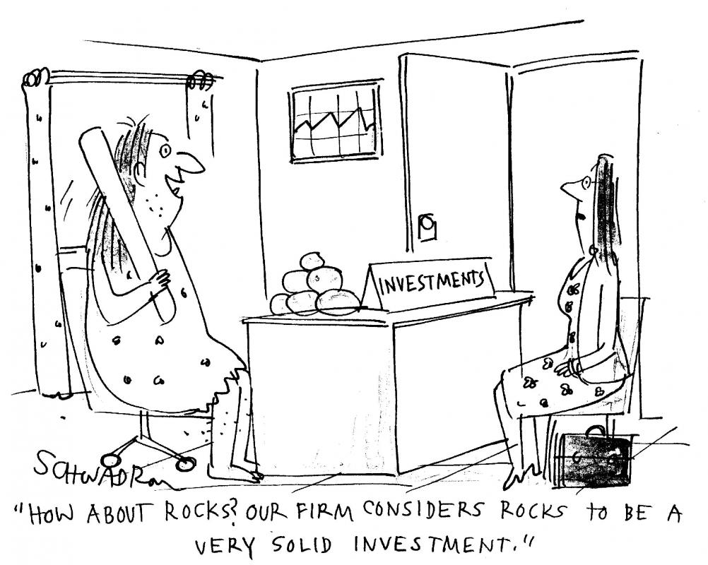 """How about rocks? Our firm considers rocks to be a very solid investment."""